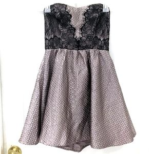 ASTR The Label Metallic Taupe Lace Skater Dress S